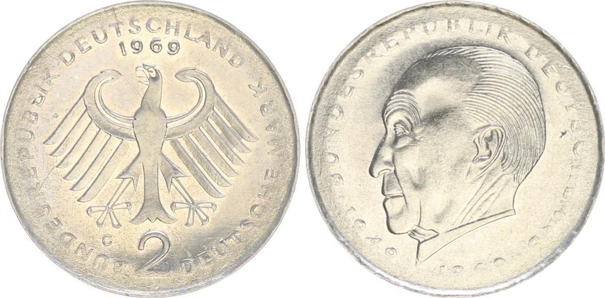 2 Dm 1969 G Deutschland 2 Dm J406 Adenauer 1969g Fehlprägung