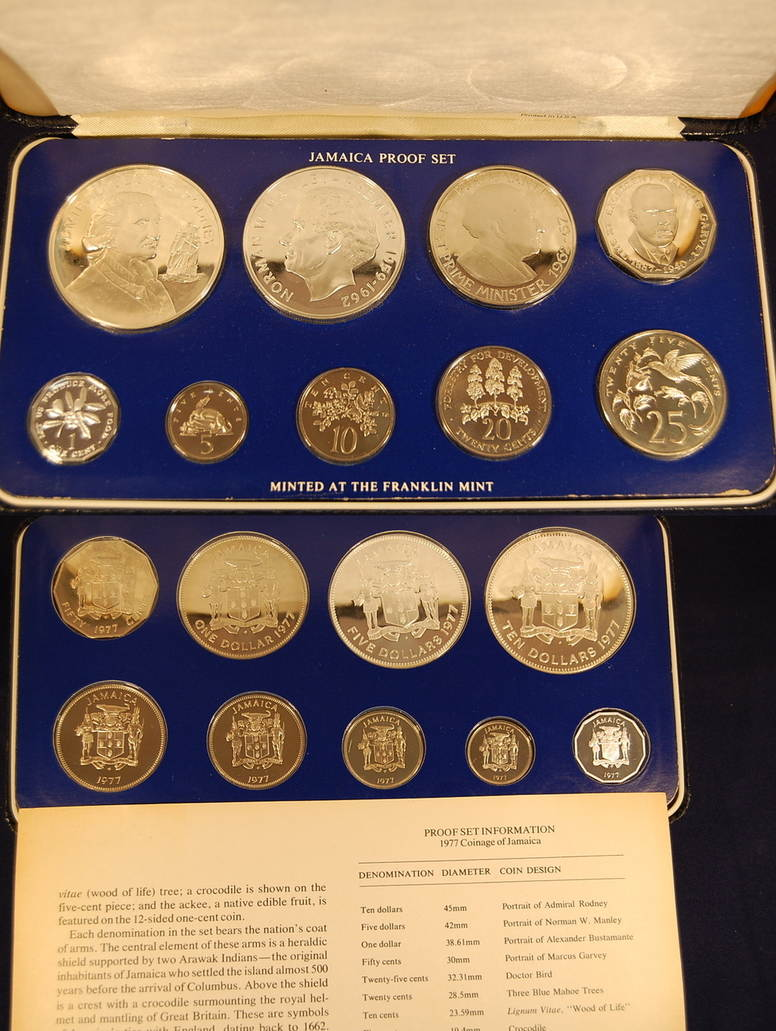 1977 Jamaica Proof Set Minted By Franklin Mint 1977 Jamaica 1977