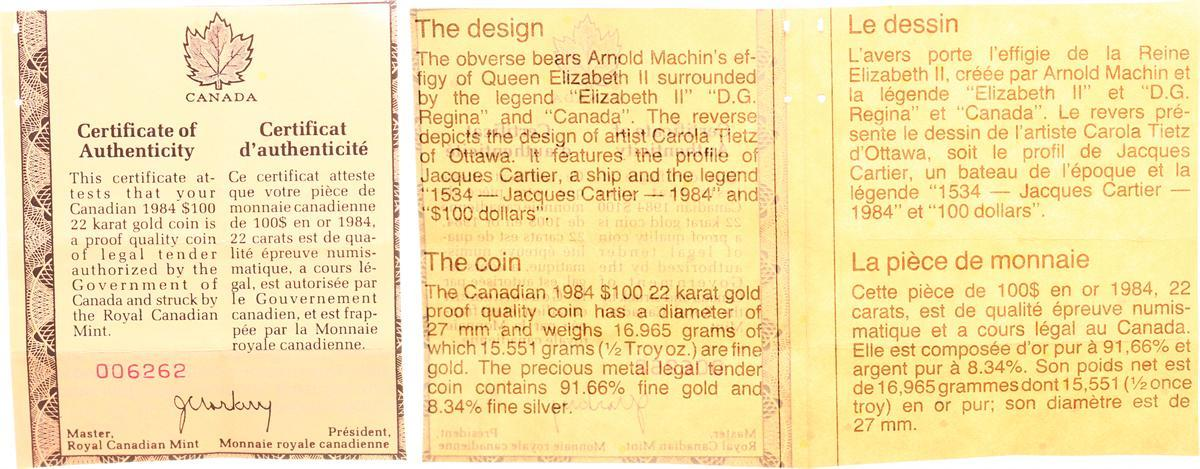100 Dollar Gold 1984 Kanada Kanada 100 Dollar Gold 1981 Jacques Cartier 1/2  Unze, Proof (PP, Proof)mit Zertifikat