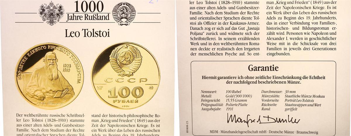 100 Rubel 1991 Rußland Rußland 100 Rubel Gold 1991,Leo Tolstois 1/2 ...