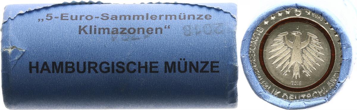 5 Euro Subrtopische Zone Originalrolle 25 Münzen 2018 J