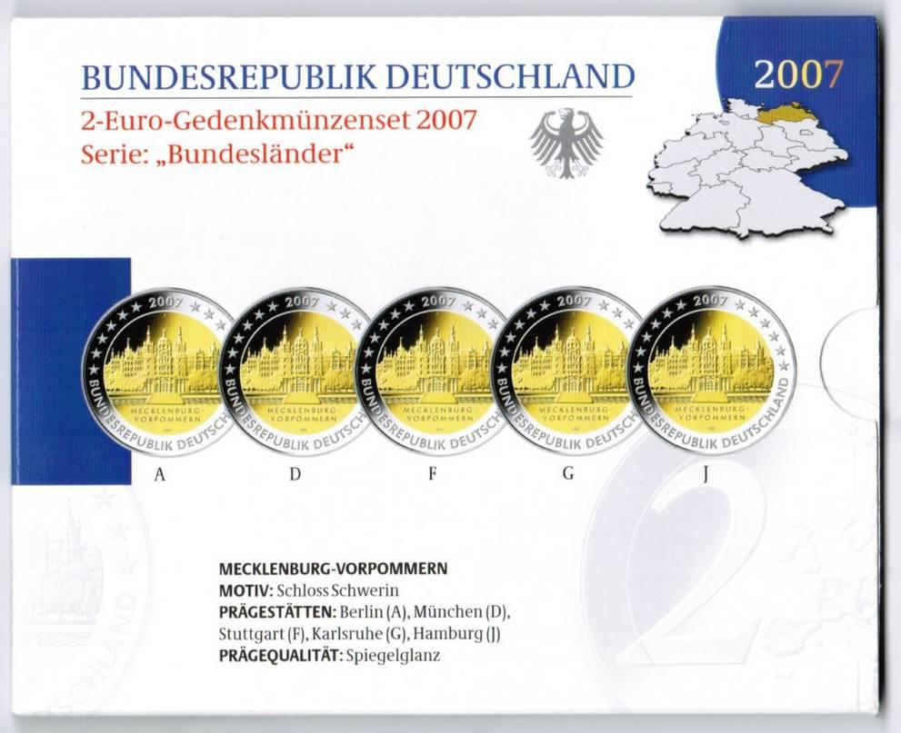 Offizieller Blister 2 Euro A-J Schwerin 2007 2007 Bundesrepublik Deutschland Offizieller Blister mit 2 Euro Schwerin 2007 ADFGJ in Polierter Platte Proof (PP)