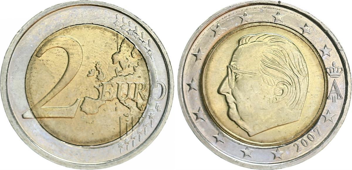 2 Euro Fehlprägung 2007 Belgien Belgien 2 Euro Kursmünze 2007 Rs