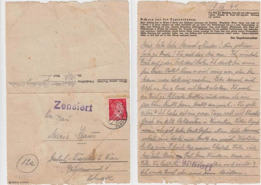 Brief Aus Kz Flossenbürg 1944 Deutschland Konzentrationslager