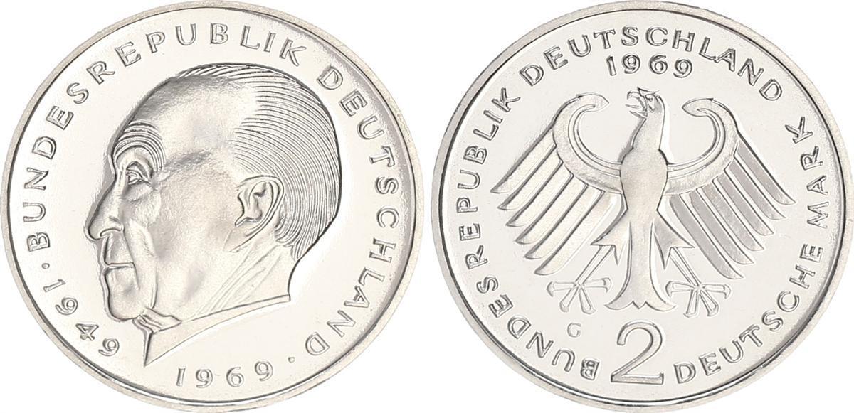 2 Mark Adenauer 1969 G Deutschland Brd 2 Dm Adenauer 1969 G Aus