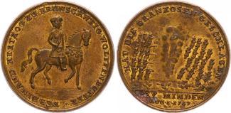 Minden, Stadt, Bronzemedaille Schlacht b 1759 Deutschland/Minden, Stadt Minden, Stadt, Bronzemedaille Schlacht bei M. und den Sieg über die Franzosen vz