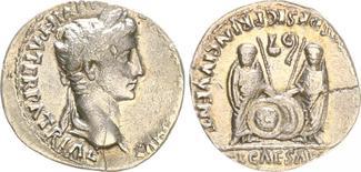 Denar 27 B.C.-14  Antike / Römische Kaiserzeit / Augustus Augustus Denar 2-4 v.Chr., Lugdunum, RS C. und L. Caesar frontal mit Speer und S ss-vz