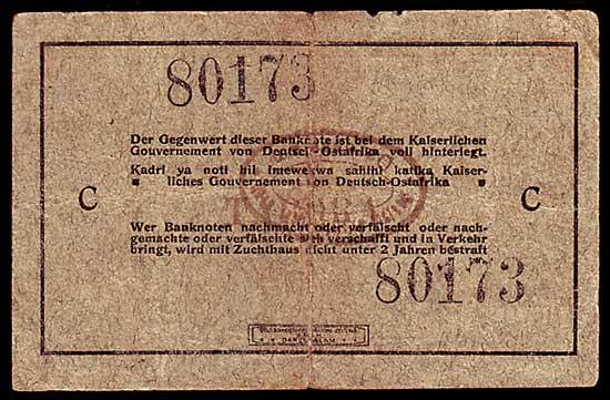 5 Rupien 1915 Kolonien Deutsch Ostafrika 5 Rupien 1915 Interims Banknote mit ovalem Bankstempel !!! gebraucht