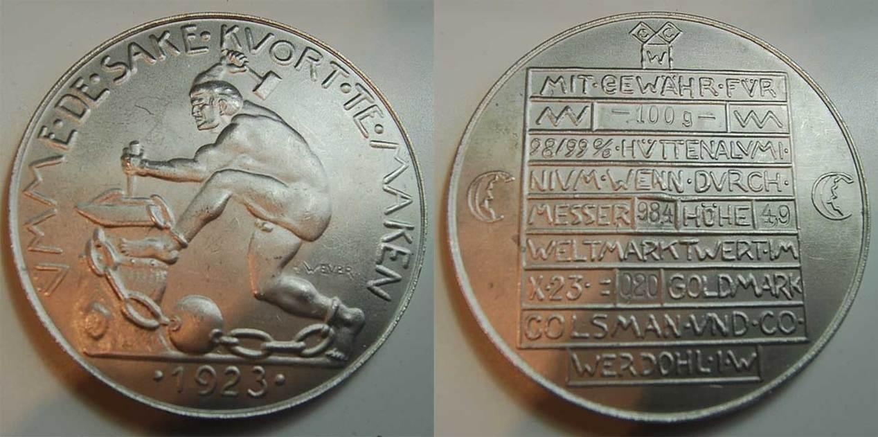 0,20 Goldmark 1923 Deutschland / WERDOHL Deutschland / Werdohl 1923 0,20  Goldmark vz-prägefrisch vz-prägefrisch