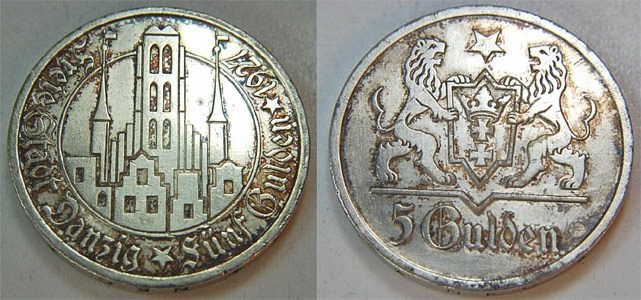 5 Gulden 1927 Polen / Danzig Polen / Danzig 5 Gulden 1927 seltenes ...