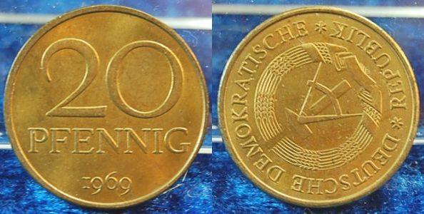 20 pfennig 1969 продать монеты ссср в украине