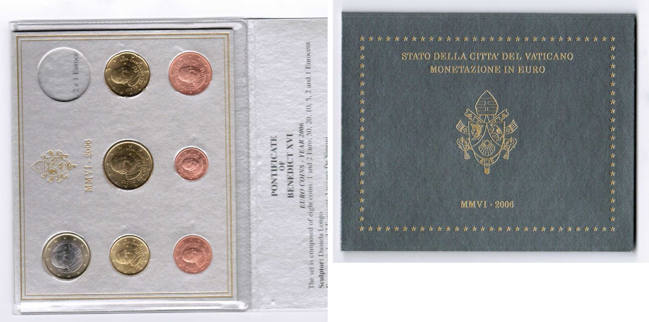 1 Cent Bis 1 Euro 2006 2006 Vatikan Vatikan Offizieller Kurssatz