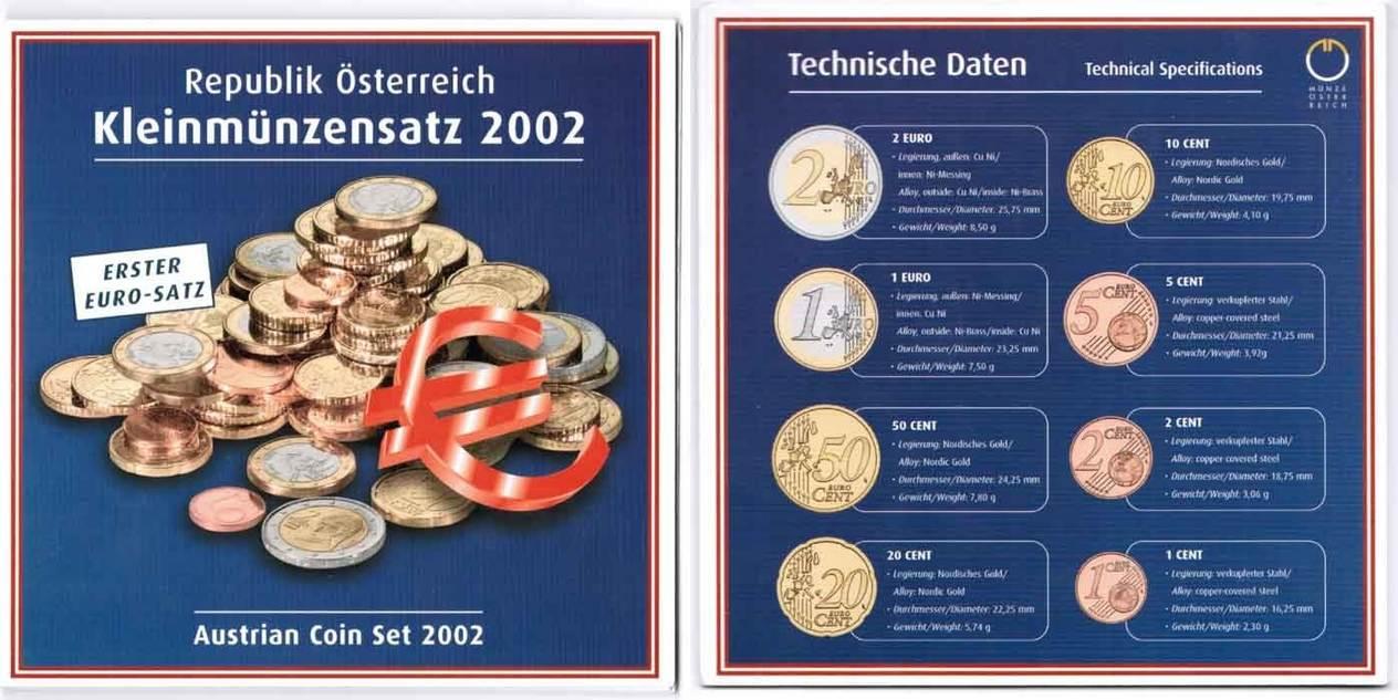 Offizieller Kursmünzensatz 1 Cent Bis 2 Euro 2002 österreich