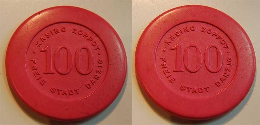 100 Gulden Kasinogeld ca. 1920 Polen / Danzig / Zoppot Danzig - Zoppot 100 Gulden Kasinogeld  rosa / Plastik  fast vz aEF