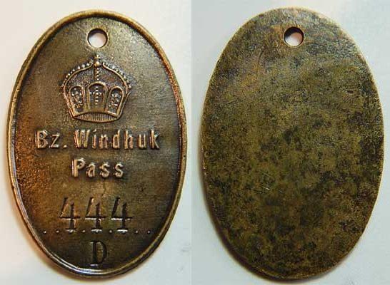 Eingeborenen Passmarke 1907 Kolonien: Deutsch-Südwestafrika Deutsch-Südwestafrika Eingeborenen Passmarke Bz. Windhuk Pass Nr.444 mit D ss bis VF-EF