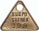 Hundesteuermarke Swakopmund Nr.299 (1904) Kolonien: Deutsch-Südwestafrika Deutsch-Südwestafrika Hundessteuermarke Swakopmund Nr. 299 + Kopie Bestellzettel VF-EF