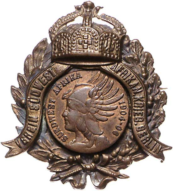 Bronze Abzeichen 1904 Deutsch-Südwestafrika Kolonien: Bronze Abzeichen Südwest Afrika Krieger Berlin 1904-06 EF