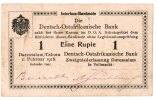 Kolonien Deutsch-Ostafrika 1 Rupie - seltene Abart Deutsch Ostafrika 1 Rupie 1916  Seriennummer handschriftlich verbessert