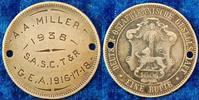 Kolonien: Deutsch-Ostafrika Soldatenerkennungsmarke Deutsch-Ostafrika Soldatenerkennungsmarke aus 1 Rupie J.713 1901
