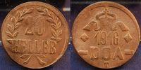 20 Heller Dünnabschlag, Bronze 1916 Koloni...