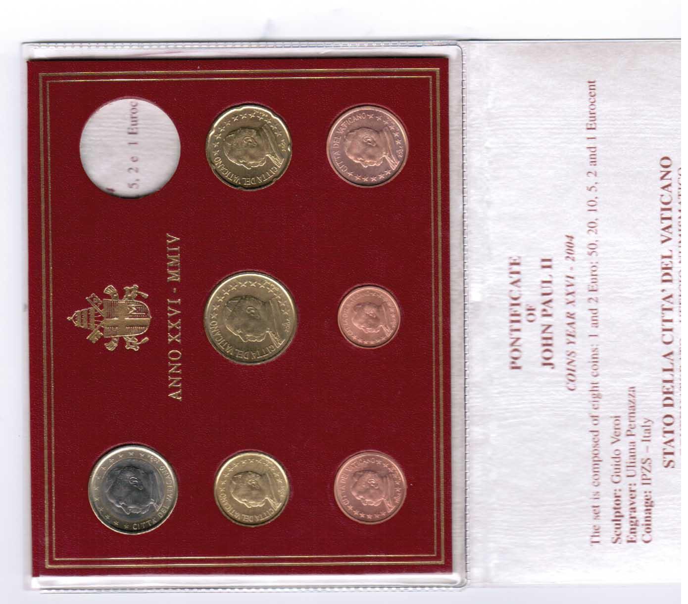 1 Cent Bis 1 Euro 2004 2004 Vatikan Vatikan Offizieller Kurssatz
