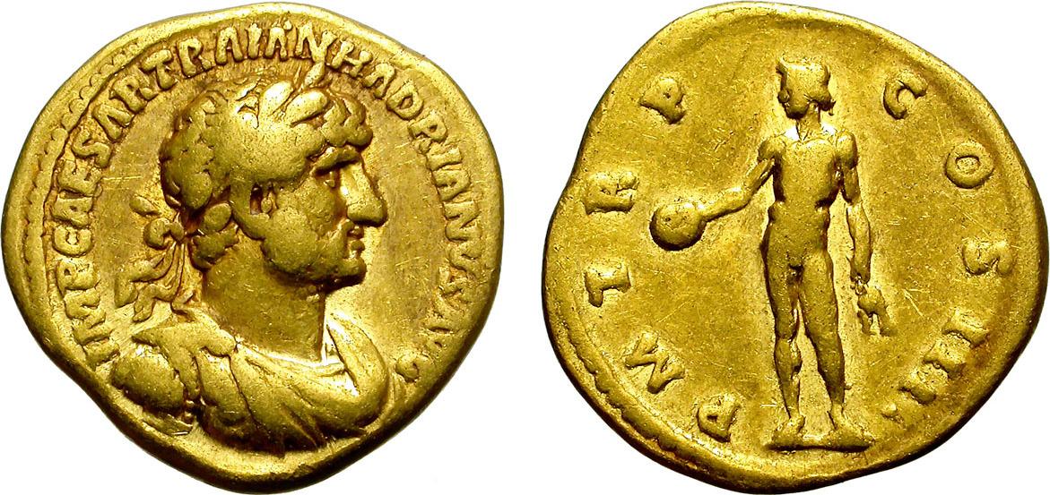 Aureus 117-138 Rome HADRIAN  ATTRACTIVE GOLD COIN VF