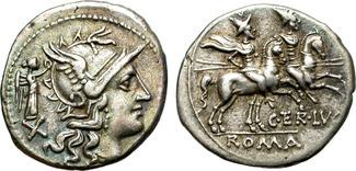 Denarius 147 B.C. Roman Republic Nice issue. Very attractive coin Vz