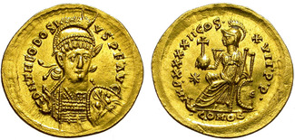 Solidus AD 402-450 Rome THEODOSIUS II. CONSTANTINOPLE MINT. PRACTICALLY UNCIRCULATED. SO NICE ! VZL.+