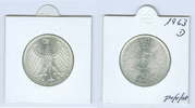 5 DM Silberadler 1963 D Bundesrepublik Deu...