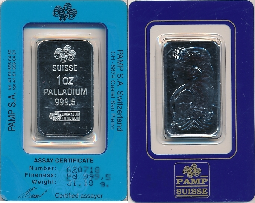 Switzerland 1 Oz 31 G Palladium Bu Ms65 70