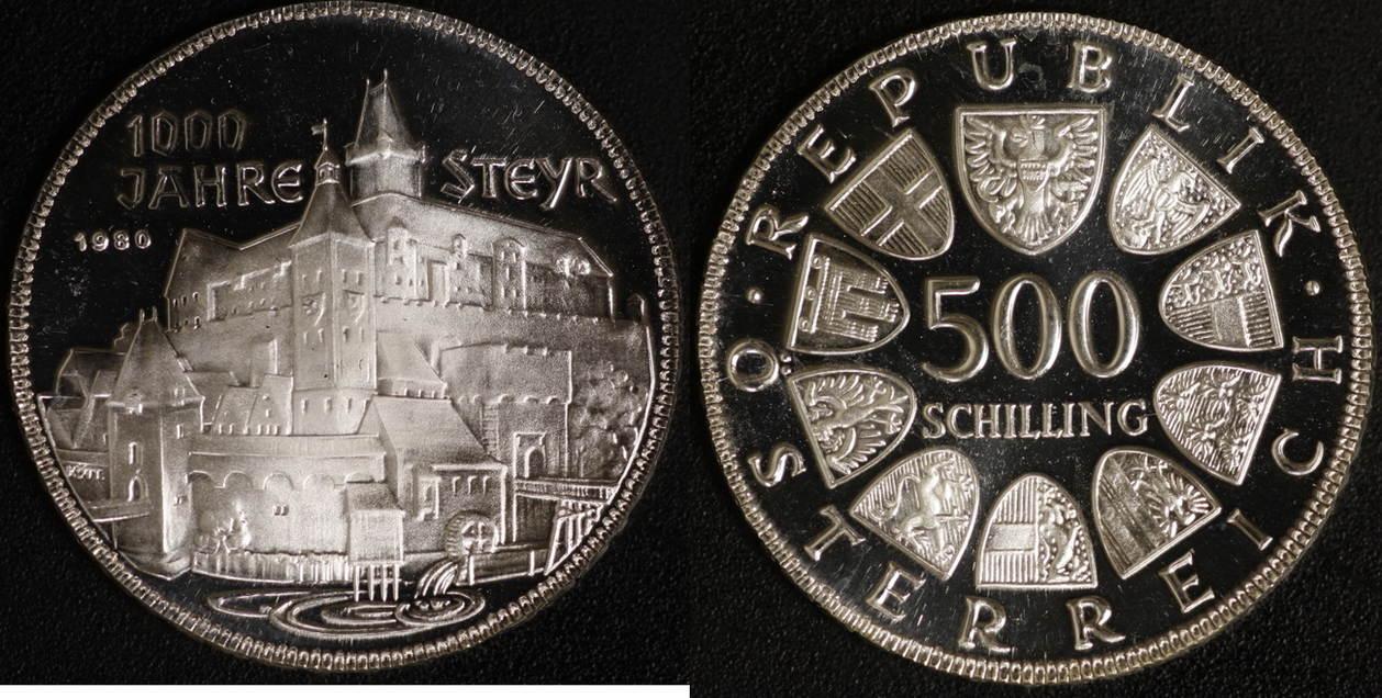 500 Schilling 1980 österreich 1000 Jahre Steyr Proof Ma Shops