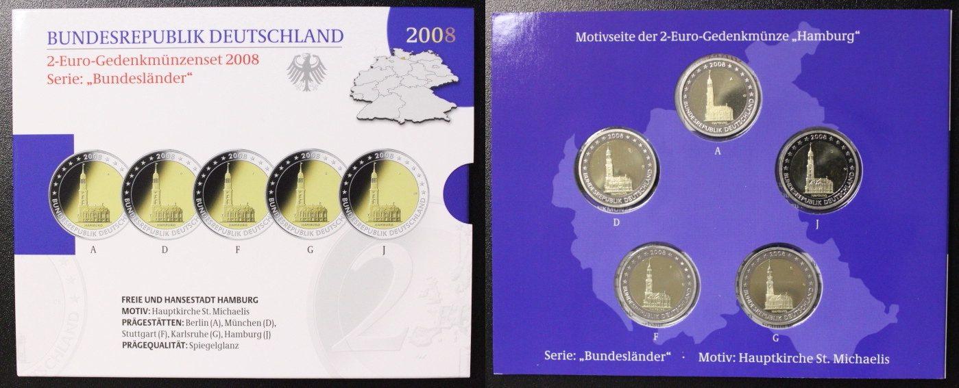 Satz 5x 2 Euro 2008 BRD Hamburg - St. Michaelis - A-J - Gedenkmünzenset PP/OVP