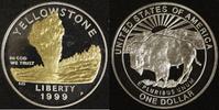 1 Dollar 1999 USA Yellowstone National-Park PP, teilvergoldet  30,00 EUR  +  10,00 EUR shipping