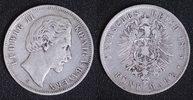 5 Mark 1875 D Bayern  Ludwig II. - leichte Stempeldrehung f.ss/l.Stdr.!  55,00 EUR  zzgl. 5,00 EUR Versand