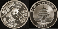 10 Yuan 1992 China Panda st in Kapsel