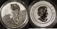 20 Dollar 2013 Kanada 1/4 Unze Wolf st.  18,00 EUR  +  10,00 EUR shipping