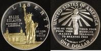 1 Dollar 1986 USA Ellis Island PP, teilvergoldet  20,00 EUR  +  10,00 EUR shipping