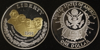 1 Dollar 1991 USA Mount Rushmore PP, teilvergoldet  20,00 EUR  +  10,00 EUR shipping