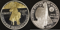 1 Dollar 1992 USA Columbus PP, teilvergoldet  20,00 EUR  +  10,00 EUR shipping