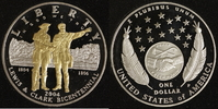 1 Dollar 2004 USA Lewis & Clark PP, teilvergoldet  35,00 EUR  +  10,00 EUR shipping