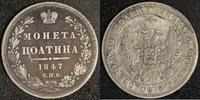 1/2 Rubel-Poltina 1847 St. P. Russland Nik...