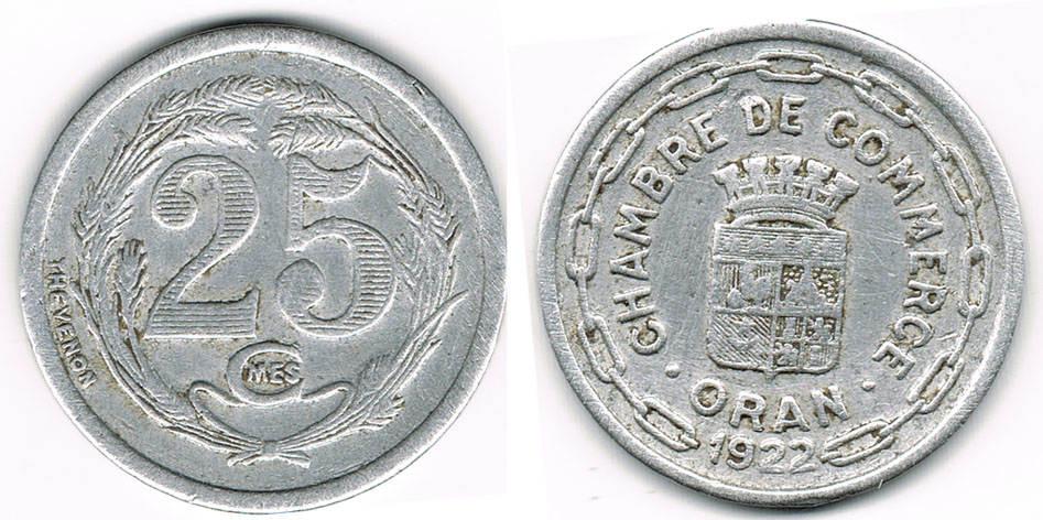 25 centimes 1922 algerien oran algerie french for Chambre de commerce algerienne