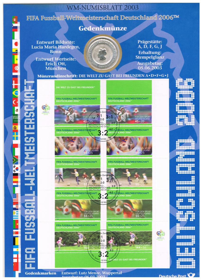 10 Euro 2003 Brd Deutschland Wm Numisblatt 2003 Mit 10 Munze Fifa Fussball Wm 2006 I Numisblatt Stempelglanz