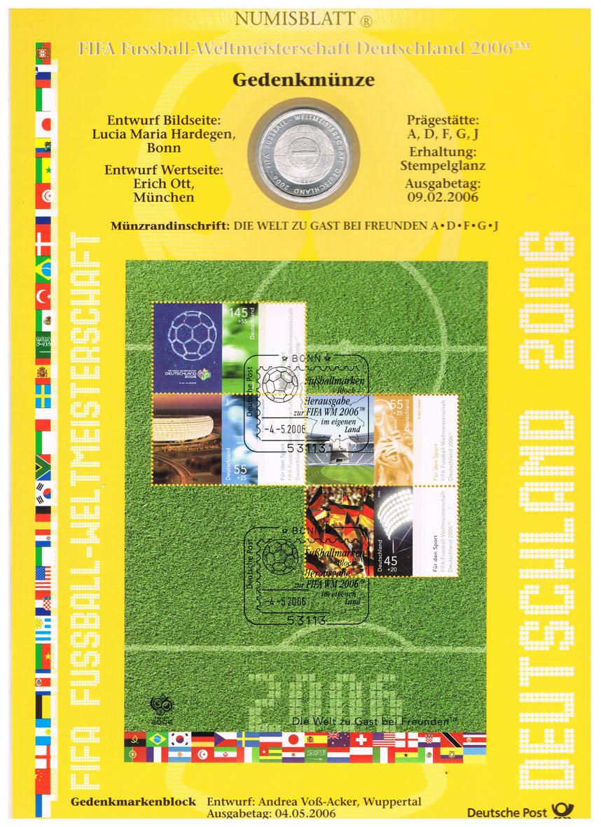 10 Euro 2006 Brd Deutschland Wm Numisblatt 2006 Mit 10 Munze Fifa Fussball Wm 2006 Iv Numisblatt Stempelglanz