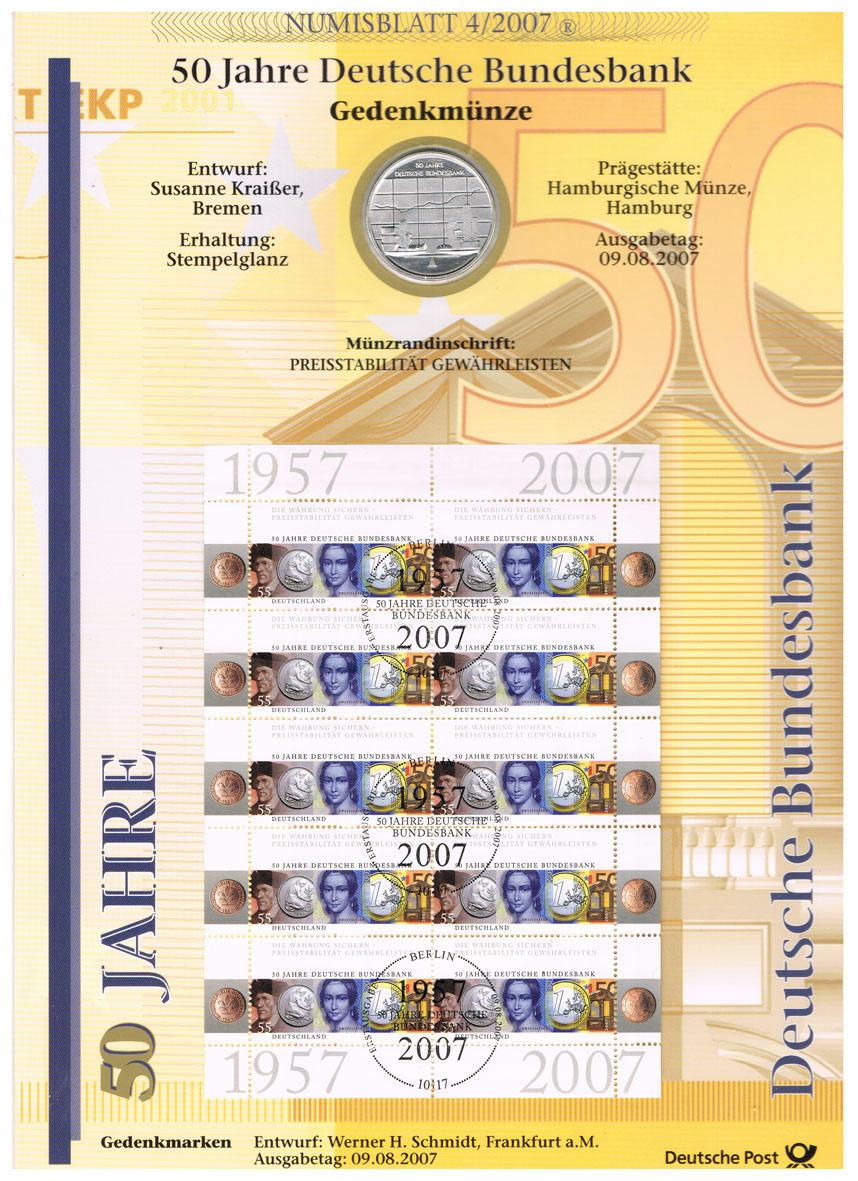 10 Euro 2007 Brd Deutschland Numisblatt 42007 Mit 10 Münze I50