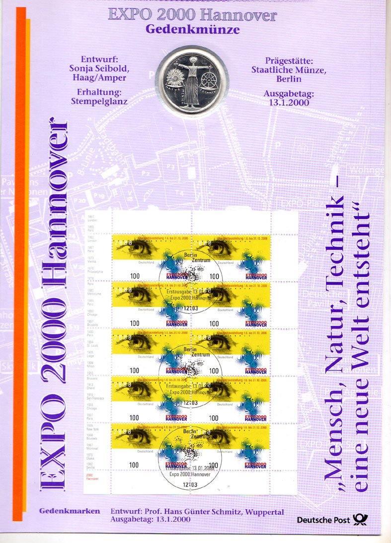10 Dm 2000 Brd Deutschland Numisblatt 22000 Mit 10 Mark Münze 10