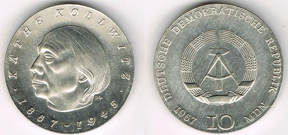 10 Mark 1967 Deutsche Demokratische Republik Ddr Gedenkmünze 10