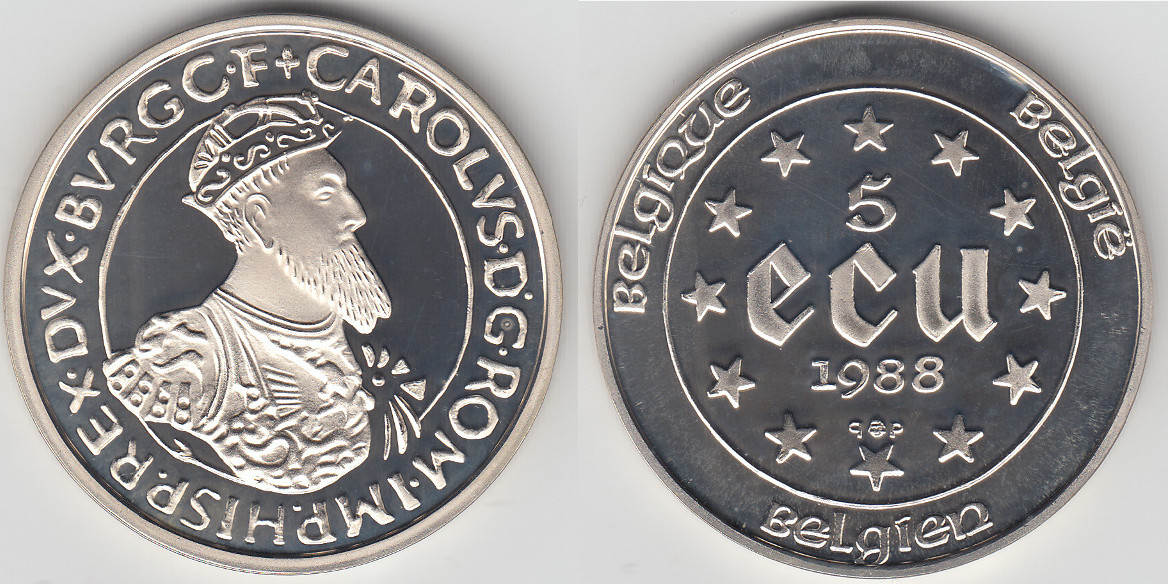 5 ecu 1988 belgien belgium 5 ecu silver commemorative treaties of rome charles v proof. Black Bedroom Furniture Sets. Home Design Ideas