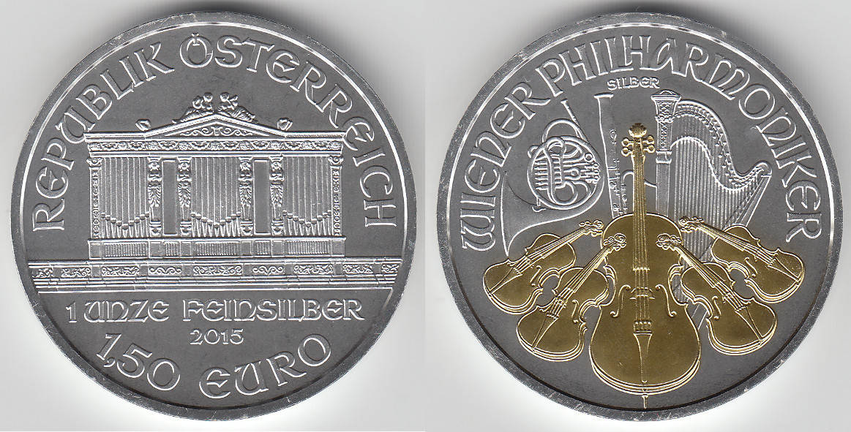 1,50 Euro (1 1/2 Euro) 2015 Österreich austria, 1 ounce fine silver