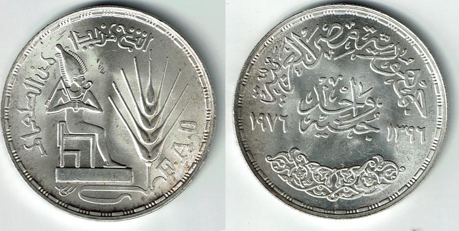 1 Pound  1976 Egypt Silver World Coin UNC  F.A.O.